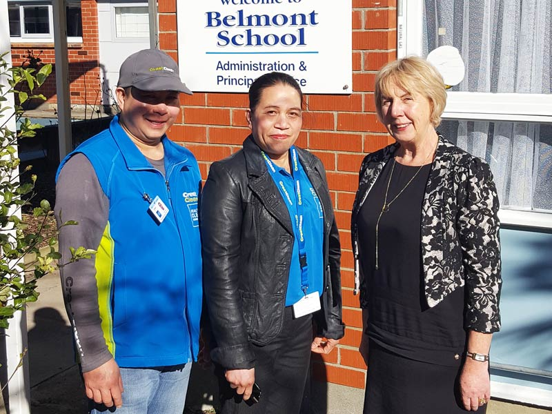 Helen and Greg Caingcoy love working at Belmont School. They are seen here with Principal Robin Thomson.