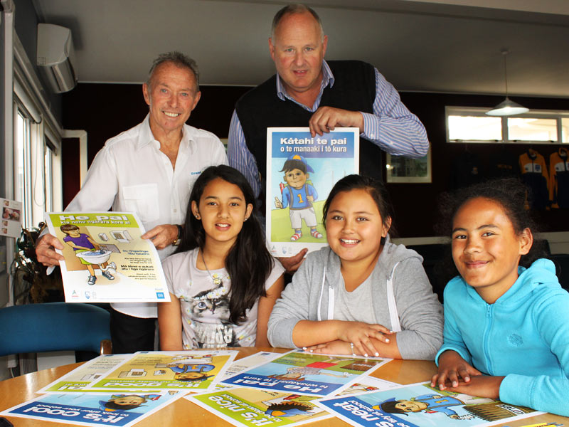 Bill Douglas (back left), Crest's Regional Manager Rotorua, Whakatane and Taupo, with Selwyn School Principal Peter Barker and pupils Leah Walker, Jade Nelson and Crystal Mihaka-Barrett.