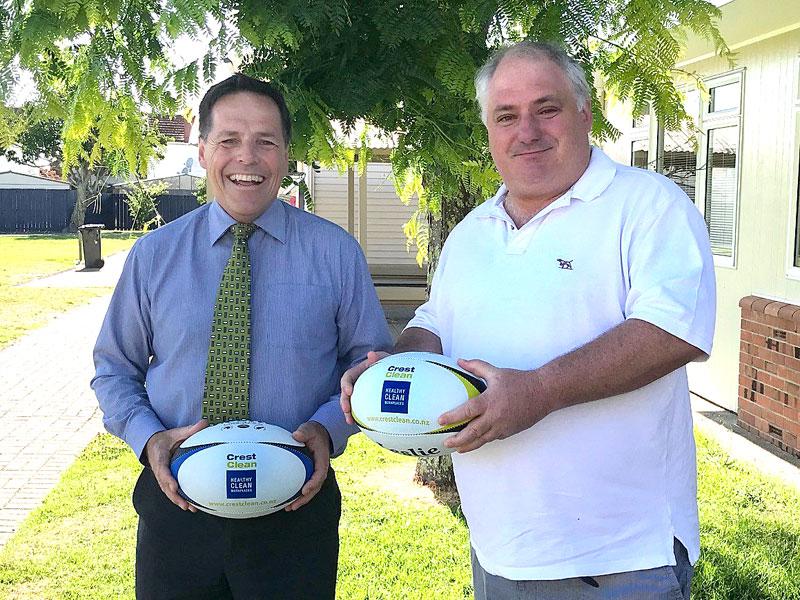 Richard Johnston, Panmure Bridge School Principal, with Dries Mangnus, CrestClean's Auckland Central Regional Manager.