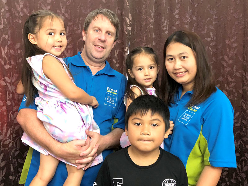 Aaron and Viyada Corbett with their children, twin girls Aria and Amika and son Nite