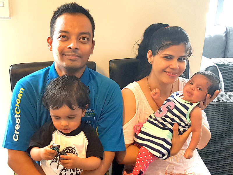 Kapil Bhatt with his wife Preeti and new baby girl Yana and son Dev.