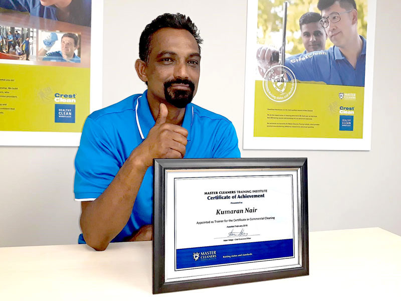 Kumaran Nair says he's proud to have been awarded the Certificate of Achievement from the Master Cleaners Training Institute.