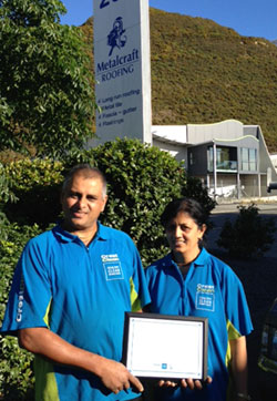 Pictured are Rakesh and Roshini Kumar with their Certificate of Excellence presented for outstanding service at Metalcraft.