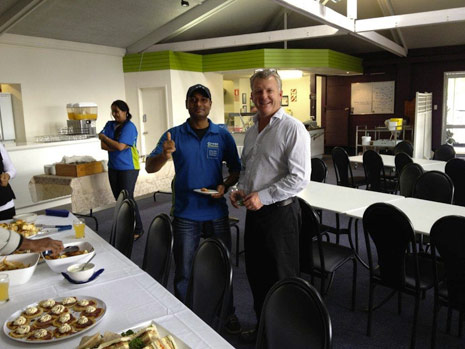 CrestClean Managing Director Grant McLauchlan and franchisee Vikash Nand enjoy the food after Grant's presentation.