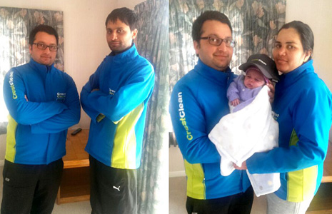 Pictured Left: Business Partners Raj Singh and Mandeep Singh – Right: Raj Singh with his wife and new baby