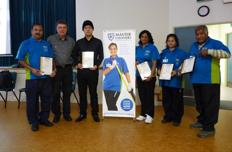 Pictured above, left to right; CrestClean Franchisee Vicky Singh, Master Cleaners CEO Adam Hodge, CrestClean Franchisees Leo Wang, Sant Kumari, Reena Sharma and Dinesh Sharma, from Auckland, New Zealand.