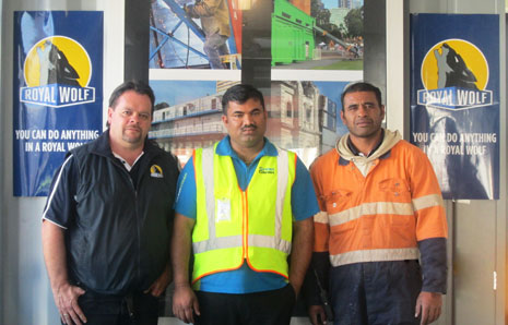 Pictured: (from left) Royal Wolf Trading Auckland Sales Manager, Mark Carson, CrestClean franchisee, Raj Narayan and Royal Wolf Yard Supervisor, Diamond Falemaka