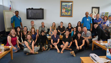 Pictured: CrestClean franchisee Shalvin Raj (on left) and Kamal Kishore (on right)  with the Matipo Primary School staff