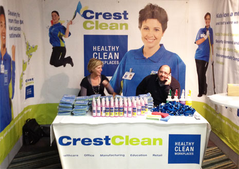 Pictured are CrestClean Regional Directors Andrew Alleway and Clare Menzies manning the table at this years WRPPA conference