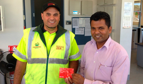 Regional Director for South and East Auckland Viky Narayan presenting a Westfield voucher to Countdown.