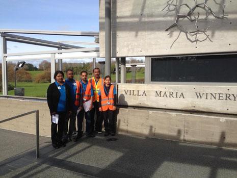 South Auckland Franchisees Paidamma Mani, Rajesh Mani, Mahesh Kanji, Pravin Chandra, and Dipti Kanji, during a Health and Safety Induction at Villa Maria Estate Ltd.