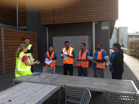 The Crest Team discussing potential workplace hazards with Villa Maria Estate Ltd's Health and Safety Co-ordinator, Selina Rae and Security Officer Andre Eksteen.