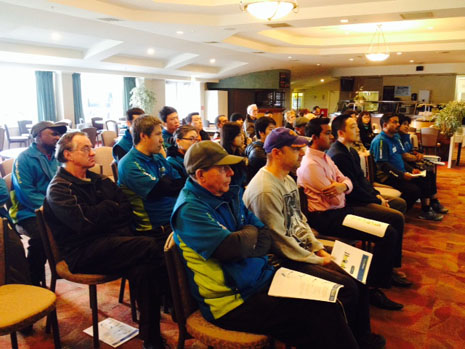 Attentive Franchisees from Christchurch North and South at a Team Meeting with Regional Manager Yasa Panagoda and CrestClean's Managing Director Grant McLauchlan.