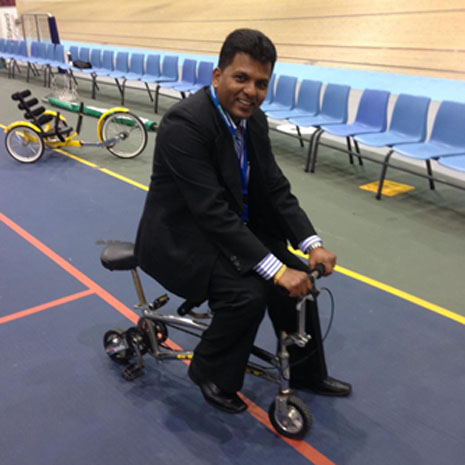 CrestClean's Viky Narayan takes the mini tandem for a spin.