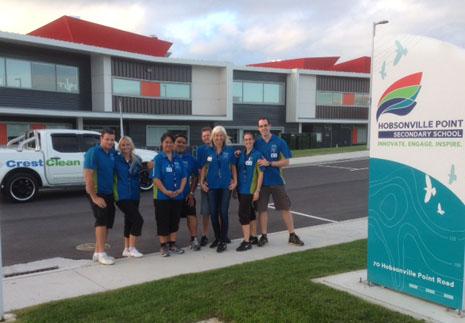 The CrestClean Team at Hobsonville Point Schools – Dave Smazik and Tereza Kratka, Mareta and Donte Alipia, Tony and Jana Jones, and Barbora Opavova and Dominik Drahoninsky.