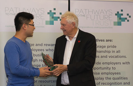 Leo Wang wins a Pathways to the Future Trust Award.