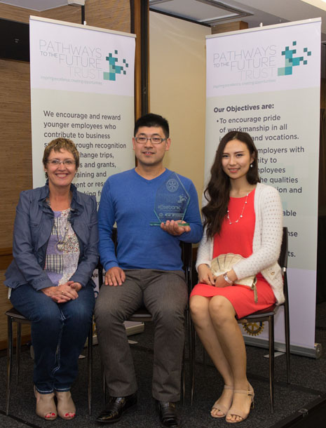 Regional Director Caroline Wedding with Leo Wang and his wife, Vivien Shan, at the awards ceremony held 31 October at the Quality Hotel in Henderson.