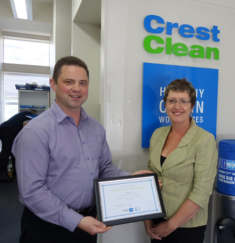 CrestClean's Caroline Wedding receiving her Three Years Long Service Certificate from Chris Barker, National Sales Manager.