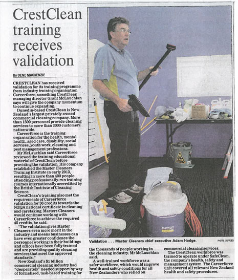 The Otago Daily Times article from 23 October reporting CrestClean's news that training courses have been validated by NZQA-accredited Industry Training Organisation, Careerforce.