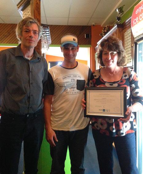 Bert and Felicity van der Lee were presented with their three-year long service award by Tauranga Regional Manager Jan Lichtwark.