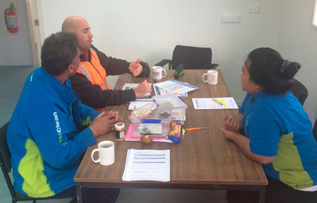 North Harbour franchisees Francis and Teneaki Nawaia completed an annual Health and Safety induction at Watercare Warkworth, which was run by representative Jarrod Constantine.