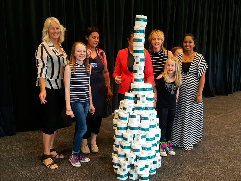 Nelson And Blenheim Franchisees Had To Try Build The Tallest Toilet Paper Tower