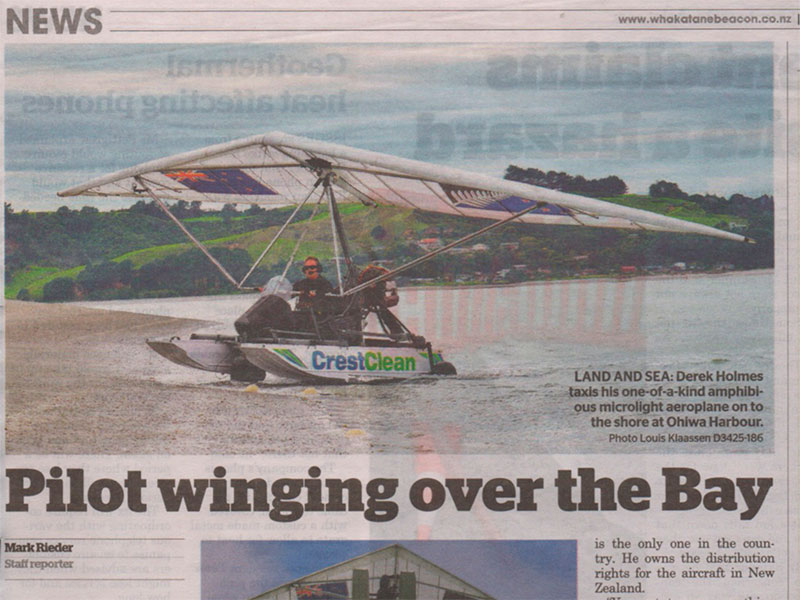 The CrestClean Amphibious Microlight was featured in Whakatane-based newspaper The Beacon.