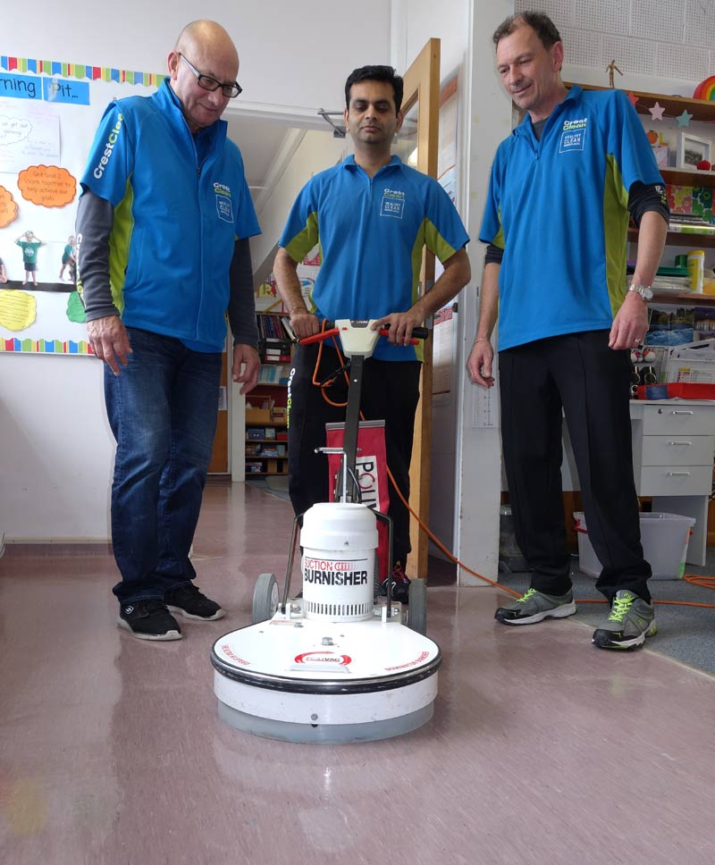 Master Cleaners Hard Floor Trainer Pinakin Patel (centre) with franchisees Neville Hall and Malcolm Brown.