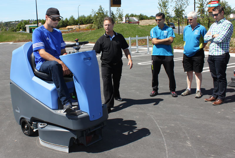Tauranga franchisee Reiner Pretorius takes a sweeper for a spin at the demo day.