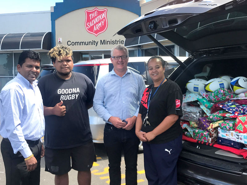 Viky Narayan (left), CrestClean's South East Auckland Regional Manager, with Managing Director Grant McLauchlan and Eteta Petero (right) and Princeton Jackson from the Toy Appeal.