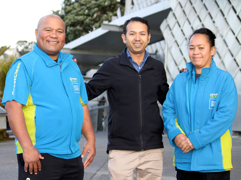 Afelee Niumea and Makalita Afelee with CrestClean's Taranaki Regional Manager Prasun Acharya.