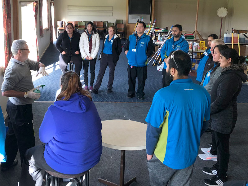 South Canterbury business owners at the Module 1 course run by the Master Cleaners Training Institute.