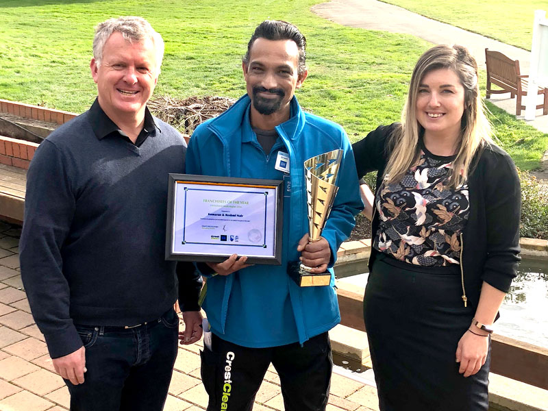 Kumaran Nair receives the Christchurch South Franchisee of the Year Award. With him are Gina Holland and Grant McLauchlan, Crest's Managing Director.