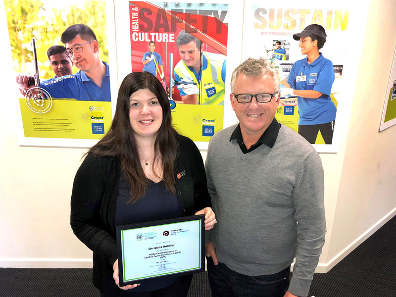 Christina Kelliher, CrestClean's Payroll Manager, with Grant McLauchlan, CrestClean's Managing Director.